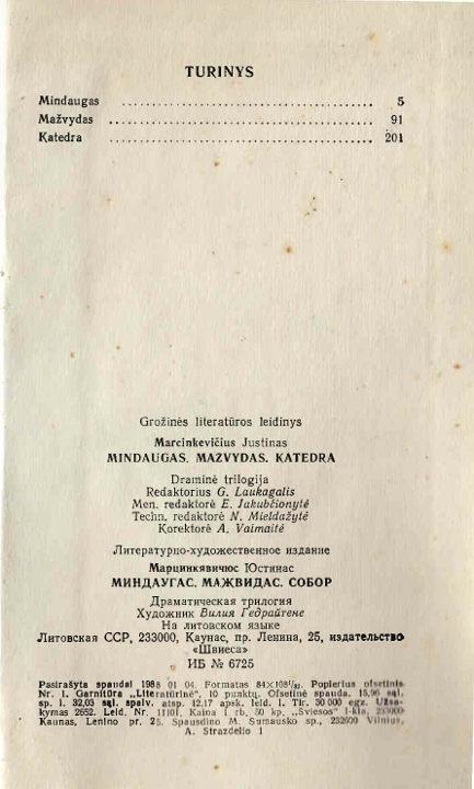 Turinys J.Marcinevičius